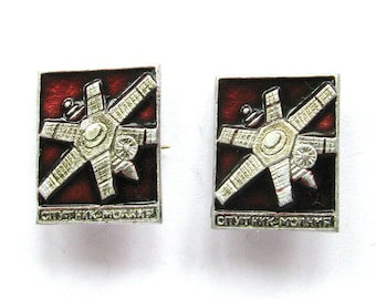 Made in USSR Vintage metal collectible badge 1980s Set of 2 Soviet Space Badges Soviet Pin Spacecraft Vintage Badge Satellite Molniya
