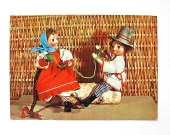 Dolls in Ukrainian national costumes USSR Soviet artist 1967 Unused Postcard Soviet Vintage Postcard Soviet Union,Art