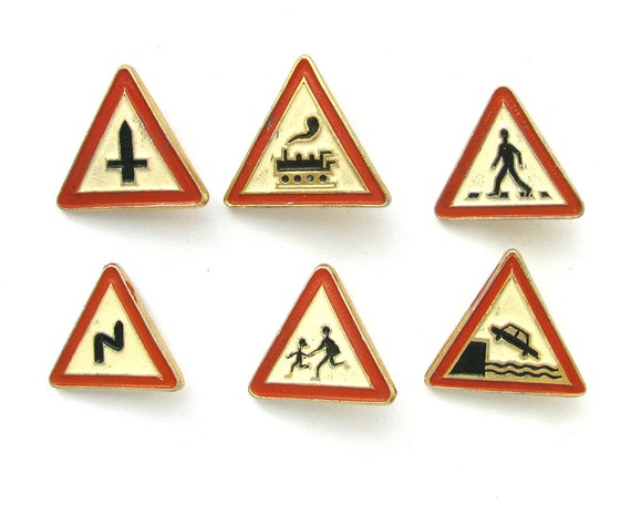 Triangle Road Signs >> Road Signs Set Of 6 Soviet Badges Triangle Red Vintage Etsy