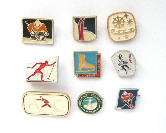 5 pcs Vintage Soviet badges hockey teams USSR hockey collectible sport badges sports collectible ice hockey  USSR badges Soviet sport