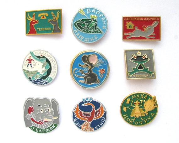Fauna Children badges Vintage collectible badge Soviet Vintage Pin Birds Hare Duck Soviet Union USSR Animals Pick from set Fox