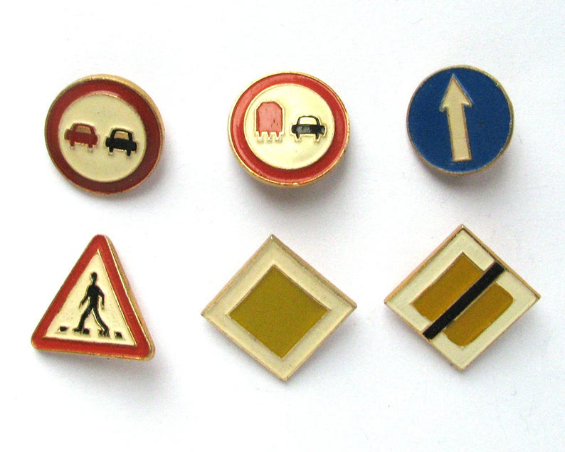 Road signs, Set of 6 Soviet Badges, Round, Triangle, Red, Vintage  collectible badge, Soviet Vintage Pin, USSR, 1980s