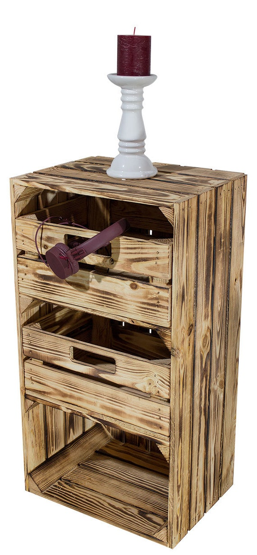 4er Paket Geflammt 2x Regal Mit Schublade 2x Ohne 75x40x31cm Schmal Holzkiste Obstkiste Weinkiste Apfelkiste Groß Bücherregal Holzregal