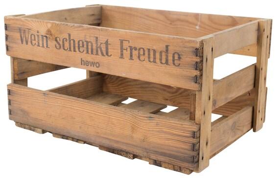 """Obstkisten-online Stabile alte Weinkiste mit Schriftzug /""""Wein schenkt Freude/"""" Deko Gebraucht 4,8"""