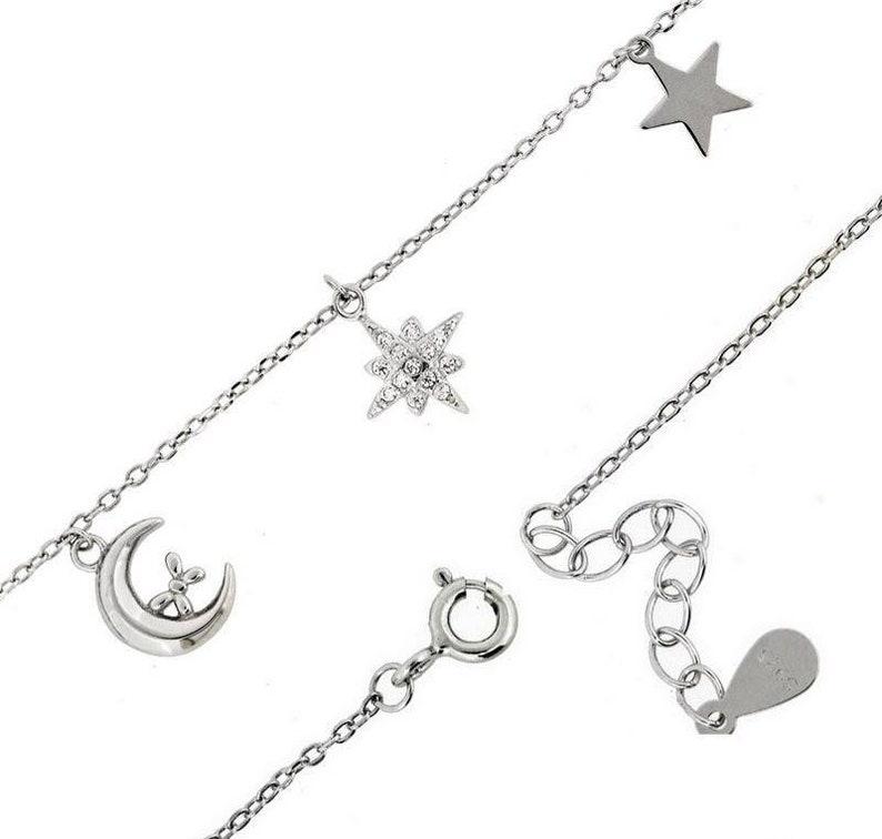 Crescent moon /& star bracelet Sterling silver Celestial Lunar charms Crescent moon zircon stars Minimalist Layering dainty charm bracelet