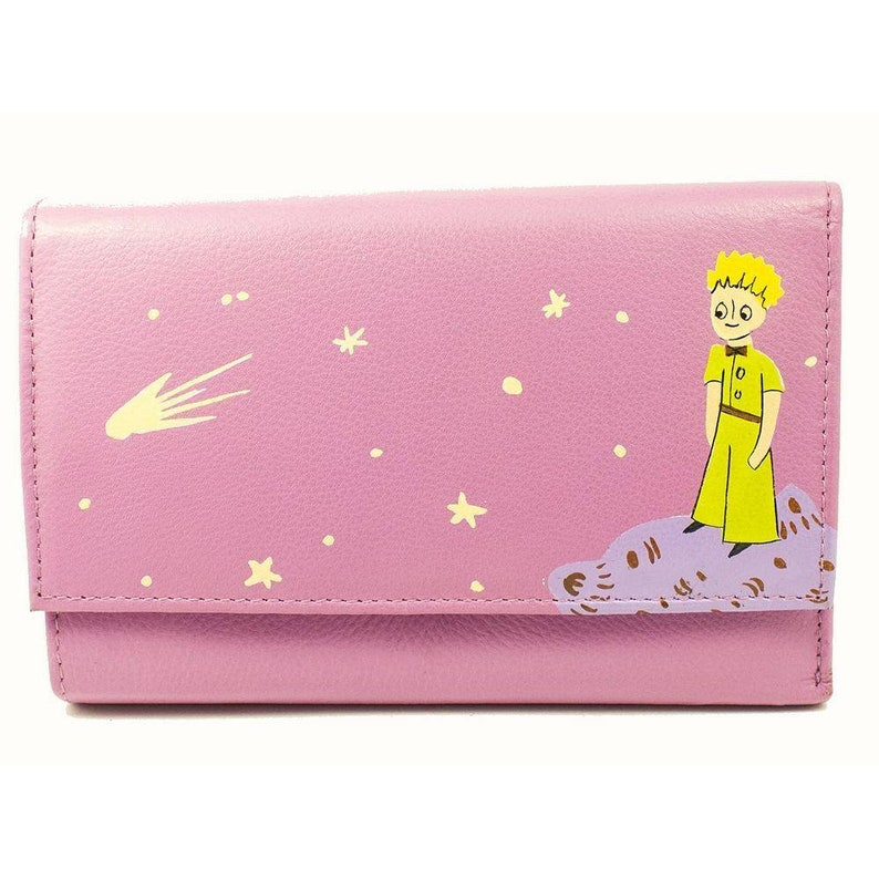 Le Petit Prince wallet The Little Prince pink leather wallet Genuine leather woman/'s purse Hand painted Everlasting colors Kids gift For her