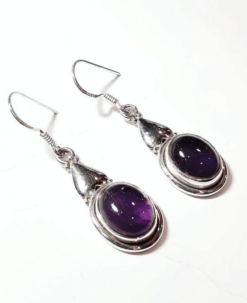 Amethyst Earrings,Moss Amethyst Earrings,Sterling Silver,February Birthstone Earrings