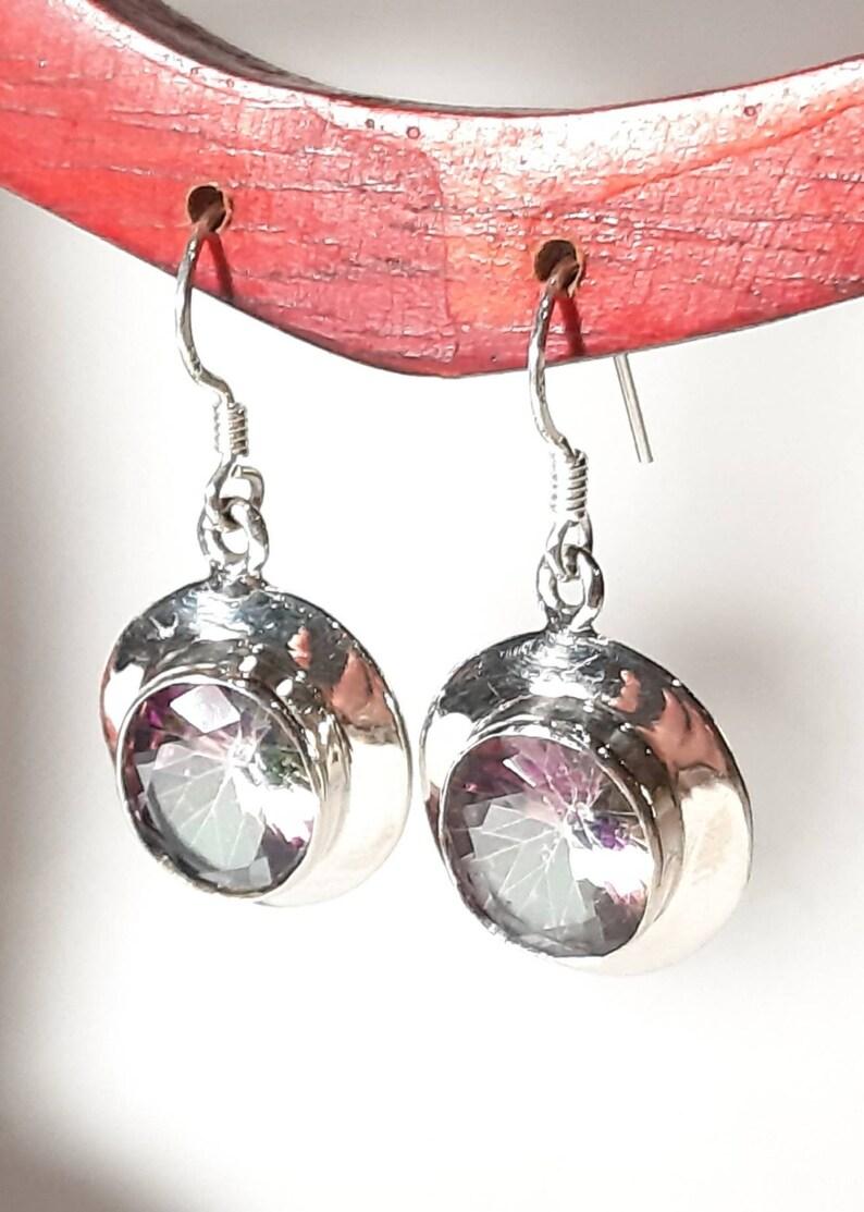 Mystic topaz earrings Sterling silver Topaz gemstone earrings Mystic topaz dangle earrings Topaz dangles Wedding jewelry Bridal earrings