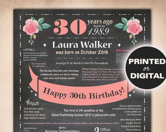 Personalized 30th Birthday Gift For HerRose Poster Born In 1989 Sign 30 Years Ago Daughter USA