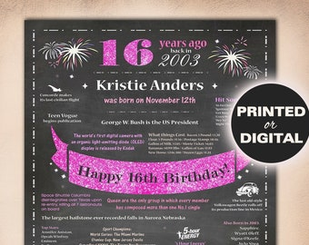 16th Birthday Gift GirlSweet 16 Gifts Girl16th PosterPersonalized 2003 Birthday16th Decorations Printables