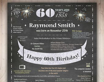 CANADA 60th Birthday Poster for Man 1958 Birthday Poster Personalized,Chalkboard Sign,60th Birthday Gift for Dad Canadians Facts