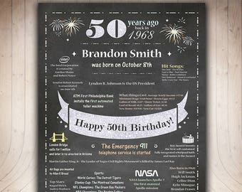50th Birthday Gift for Men, 50th Birthday Poster 1968,Chalkboard 50th Birthday Sign, Born in 1968,Personalized 1968 Birthday Sign USA