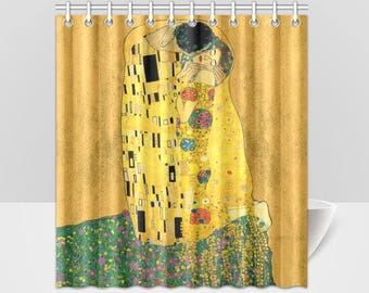 The Kiss Gustav Klimt Revived Vintage Art Shower Curtain