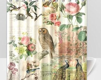 Shabby Chic Shower Curtain Vintage Botanical Birds And Owl