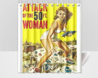 Attack Of The 50 Feet Woman Horror Vintage Movie Poster Shower Curtain