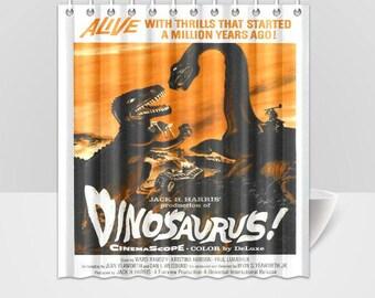 Dinosaurus Dinosaurs B Grade Horror Vintage Movie Poster Shower Curtain