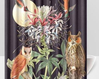 Shower Curtain Owls Vintage Botanical Floral Moon Humming Birds And Black