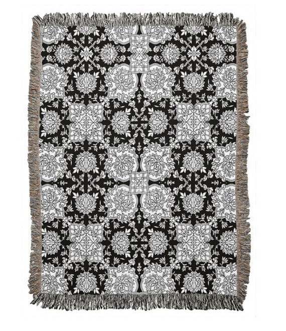 Vintage Racinet Black And White Pattern Throw Blanket Rug Bed Cover Bed Spread Home Decoration