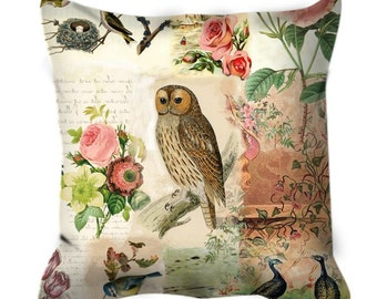 Vintage Botanical and Owl Cushion Cover Pillow