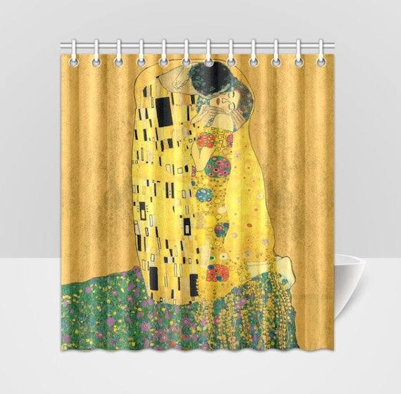 The Kiss Gustav Klimt Revived Vintage Art Shower Curtain
