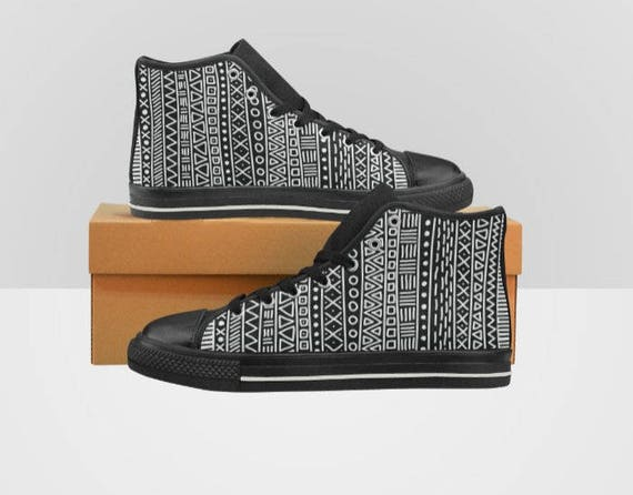 Women/'s High Top Sneakers Kicks Black and White Plaid Checkers Shoes