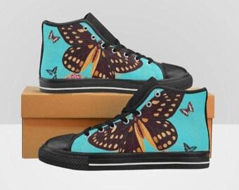 Women's High Top Sneakers Kicks Butterfly Aqua Teal Shoes