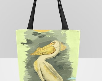 Vintage White Pelican Canvas Tote Bag