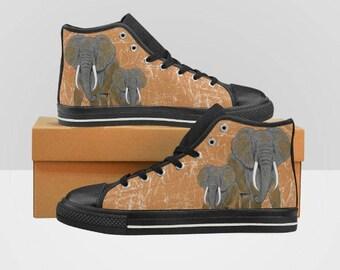 African Elephants Women's High Top Sneakers Kicks Shoes
