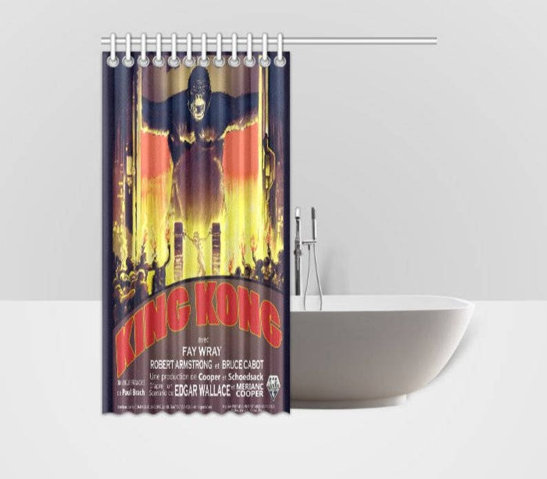 Shower Curtain Vintage King Kong Horror Movie Poster