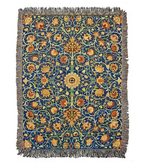 William Morris Vintage Carpet Pattern Throw Blanket Rug