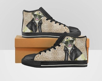 Pug In Leather Jacket Lace Women's High Top Sneakers Kicks Kids Shoes