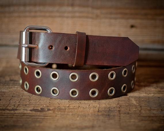 Leather eyelet Belt Full Grain Leather Belt Brown Leather | Etsy