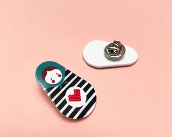 MATRYOSHKA PINS - Jewellery - Illustration - shrink plastic (Pin / insignia)