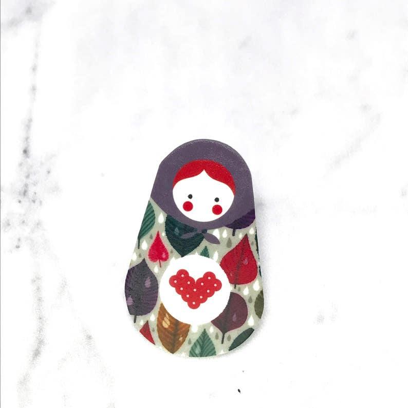 Illustration MATRYOSHKA PINS Jewellery Pin  insignia shrink plastic