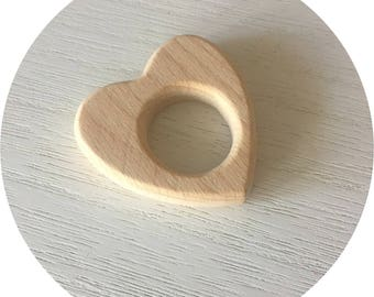 CŒUR natural wooden teething ring