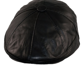 166cb79024d0 Newsboy Cap Bakerboy Leather Hat 8 Panel Flat Cap Cabby Dai Cap Fixed Peak  BLACK/BROWN