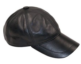 9d91ea7c17c Genuine Leather Baseball Cap Precurved Snapback 3 colours