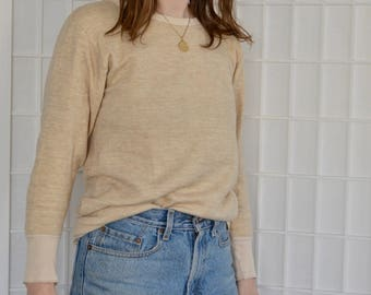 Vintage Duofold Cashmere Wool Beige Thermal Shirt, Size S