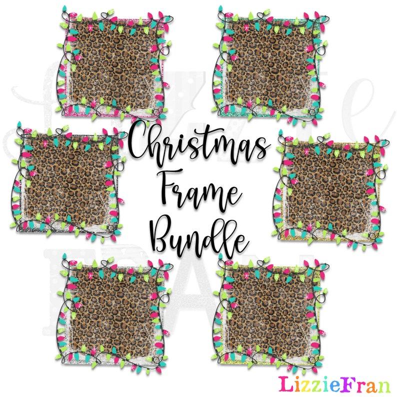Christmas Lights Frame Bundle 6 Designs  Distressed Sublimation Design PNG Waterslide Digital Download Clip Art