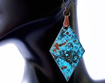 Copper Patina Earrings, statement earrings, geometric earrings, turquoise earrings, patina jewelry, copper jewelry, artisan earrings
