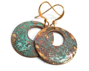 Patina and Turquoise Rustic Hoop Earrings