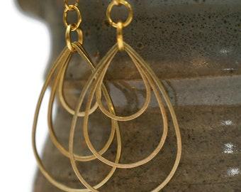 Triple Hoop Gold TearDrop Earrings
