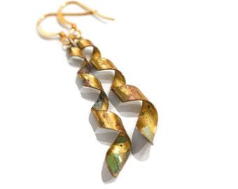 Twisted Gold and Patina Earrings, Spiraled Earrings