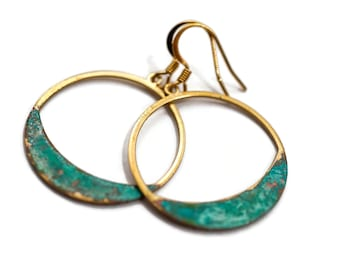 Gold and Turquoise Patina Hoop Earrings