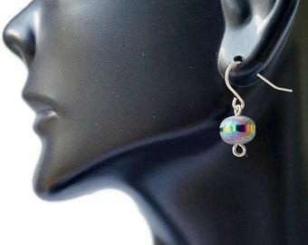 Sterling Silver Druzy Earrings, Dainty Rainbow Druzy Earrings, Druzy Drop Earrings, blue druzy earrings