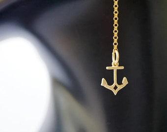 14 Karat Gold Anchor Earrings, Long gold earrings, Gold Filled Earrings, Anchor jewelry, minimalist earrings