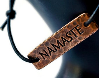 Copper Namaste Bracelet, Hammered Copper Bracelet, Adjustable Leather bracelet