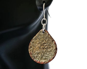 Antiqued Copper Earrings, Hammered Copper Earrings, Mixed Metal Earrigns, Teardrop Earrings
