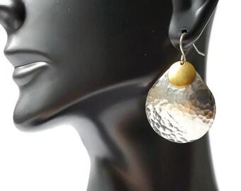 Hammered Silver Earrings, Pewter Earrings, tear drop earrings, gold disc earrings, sterling disc earrings, Silver statement earrings