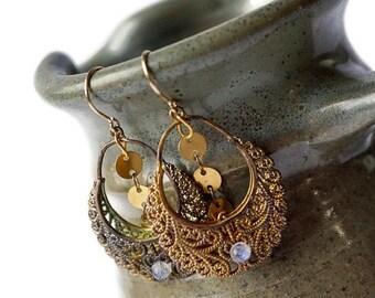 Fancy Opal and 14 K gold Hoop Earrings